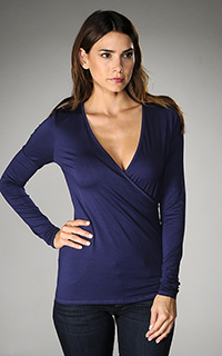 Three Dots Light Weight Viscose Fitted Wrap Top