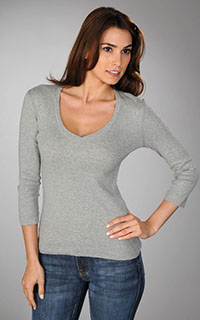 Three Dots Classic 3/4 Sleeve Deep V
