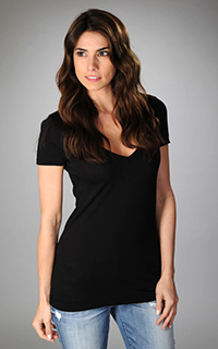 Three Dots Short Sleeve Deep V