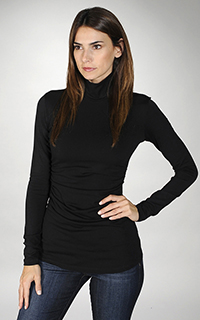 Susana Monaco Supplex Side Gather Turtleneck